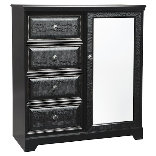 Signature Design by Ashley Alamadyre Contemporary Dressing Chest with 4 Drawers and 1 Door