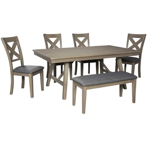 Signature Design by Ashley Aldwin Table and Chair Set with Bench