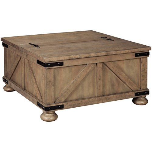 Signature Design by Ashley Aldwin Farmhouse Cocktail Table with Lift Top Storage