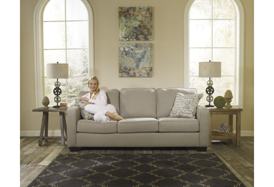Alenya Quartz Comtemporary Track Arm Queen Sofa Sleeper By Signature Design By Ashley At Home Furnishings Direct