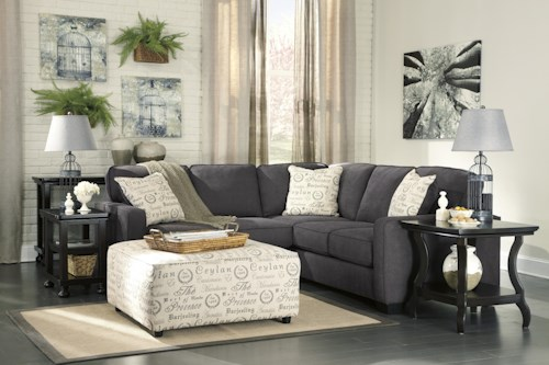 Signature Design by Ashley Alenya - Charcoal Sectional + FREE Ottoman