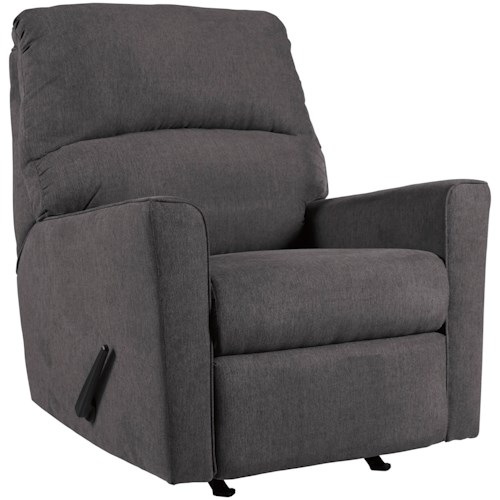 Signature Design by Ashley Alenya - Charcoal Contemporary Rocker Recliner
