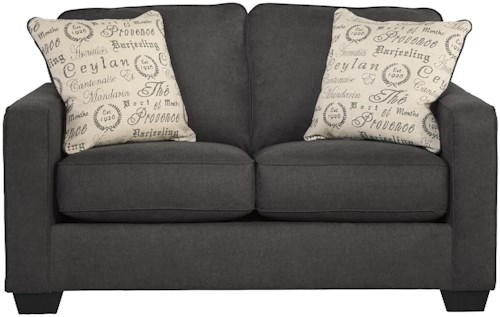 Signature Design by Ashley Alenya - Charcoal Contemporary Loveseat w/ Track Arms