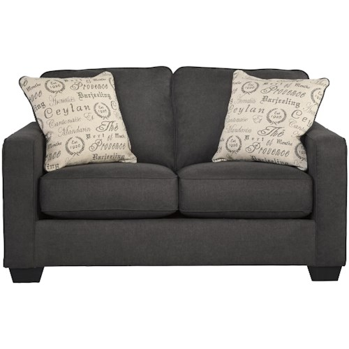 Ashley Furniture Denver Colorado: Signature Design By Ashley Alenya - Charcoal Contemporary Loveseat W/ Track Arms