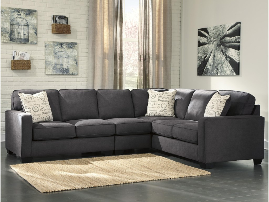 Signature Alenya - Charcoal3-Piece Sectional with Left Loveseat