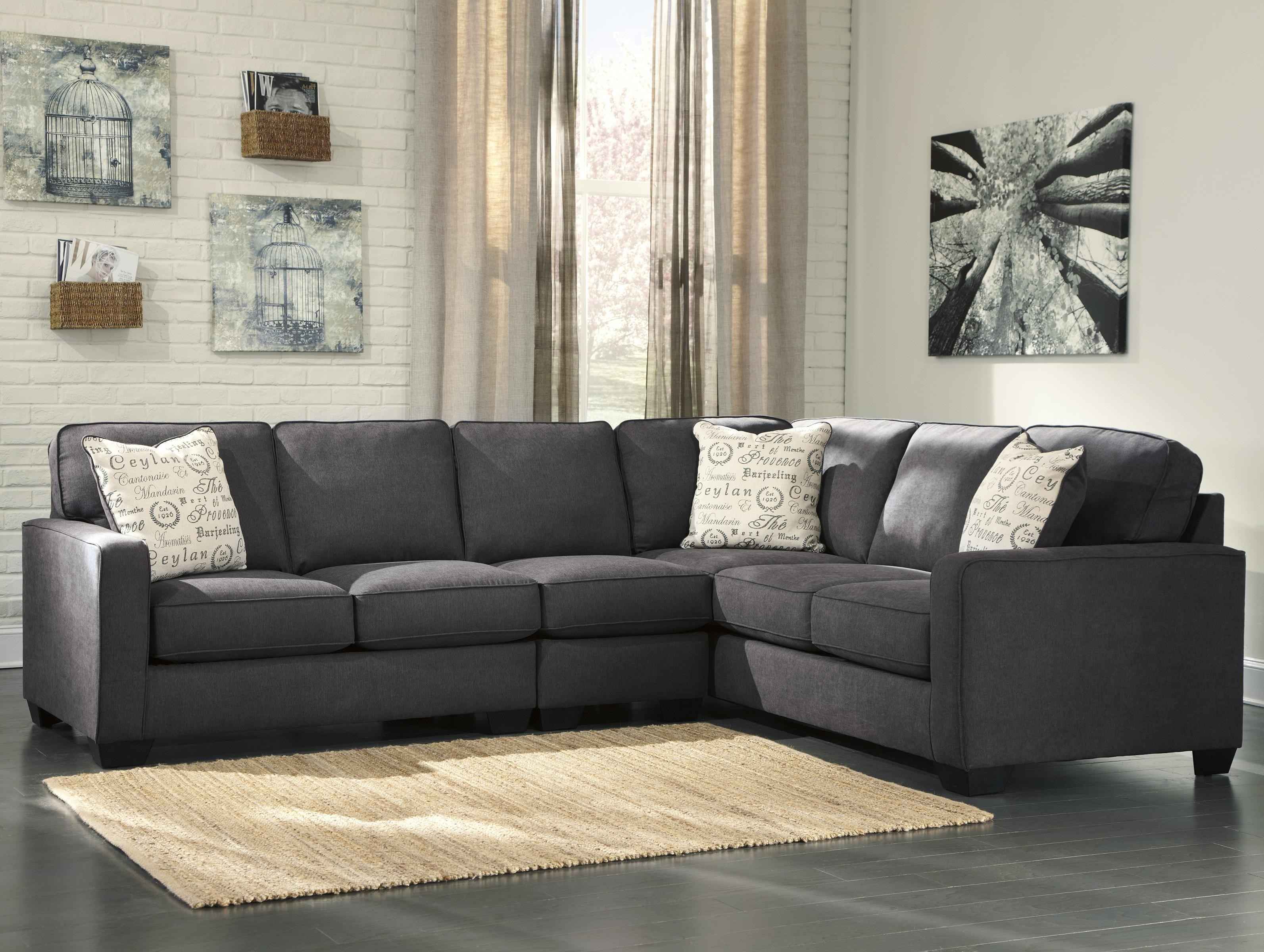 Signature Design By Ashley Alenya   Charcoal 3 Piece Sectional With Left  Loveseat