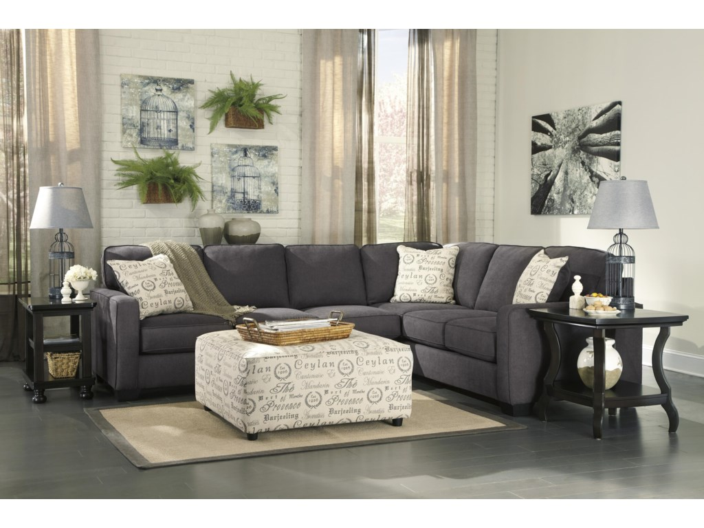 Signature Design by Ashley Alenya - Charcoal3-Piece Sectional with Left Loveseat