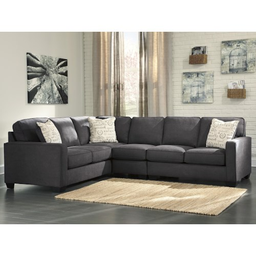 Signature Design by Ashley Furniture Alenya - Charcoal 3-Piece Sectional with Right Loveseat