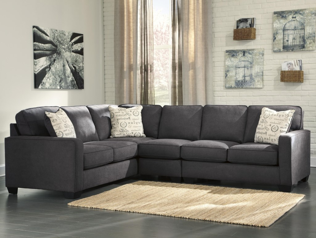 Signature Design By Ashley Alyssa Charcoal 3 Piece Sectional With