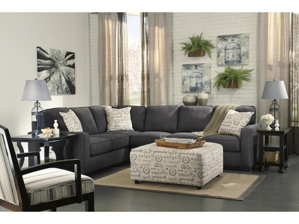 Signature Design by Ashley Alenya - Charcoal3-Piece Sectional with Right Loveseat
