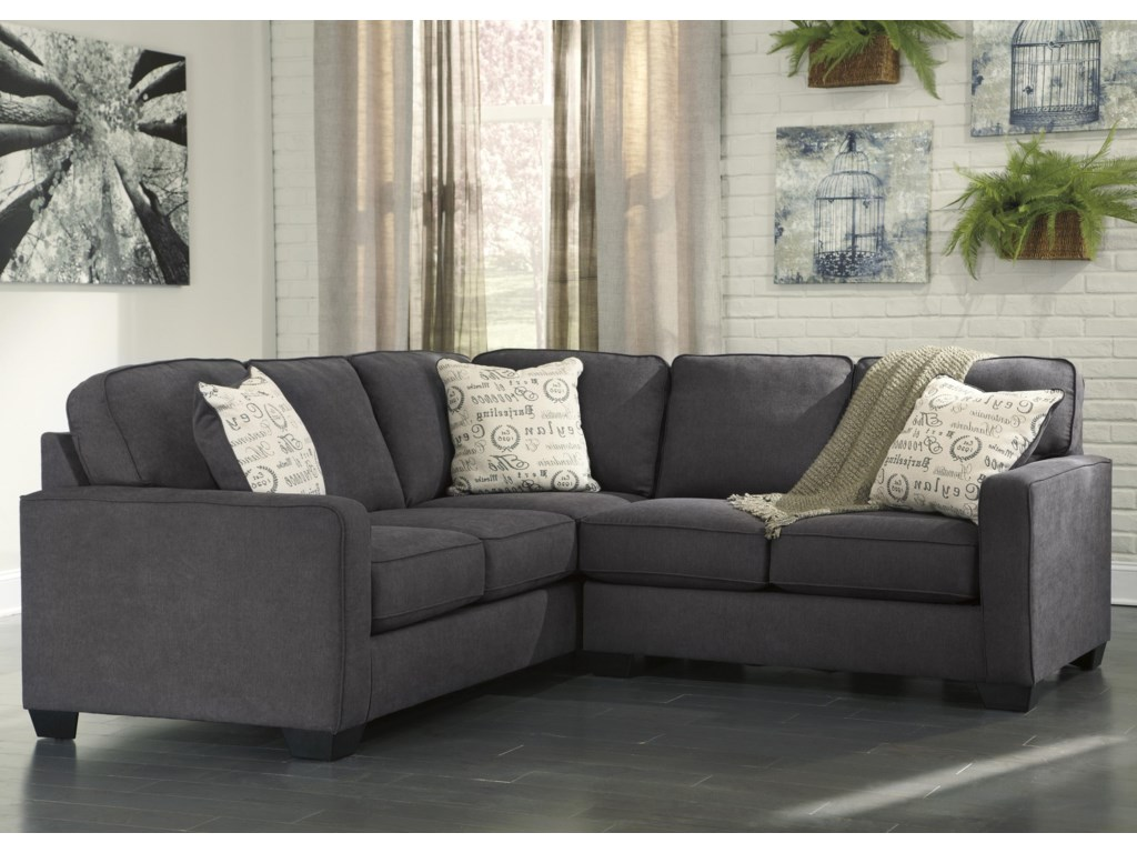 Ashley (Signature Design) Alenya - Charcoal2-Piece Sectional with Right Loveseat