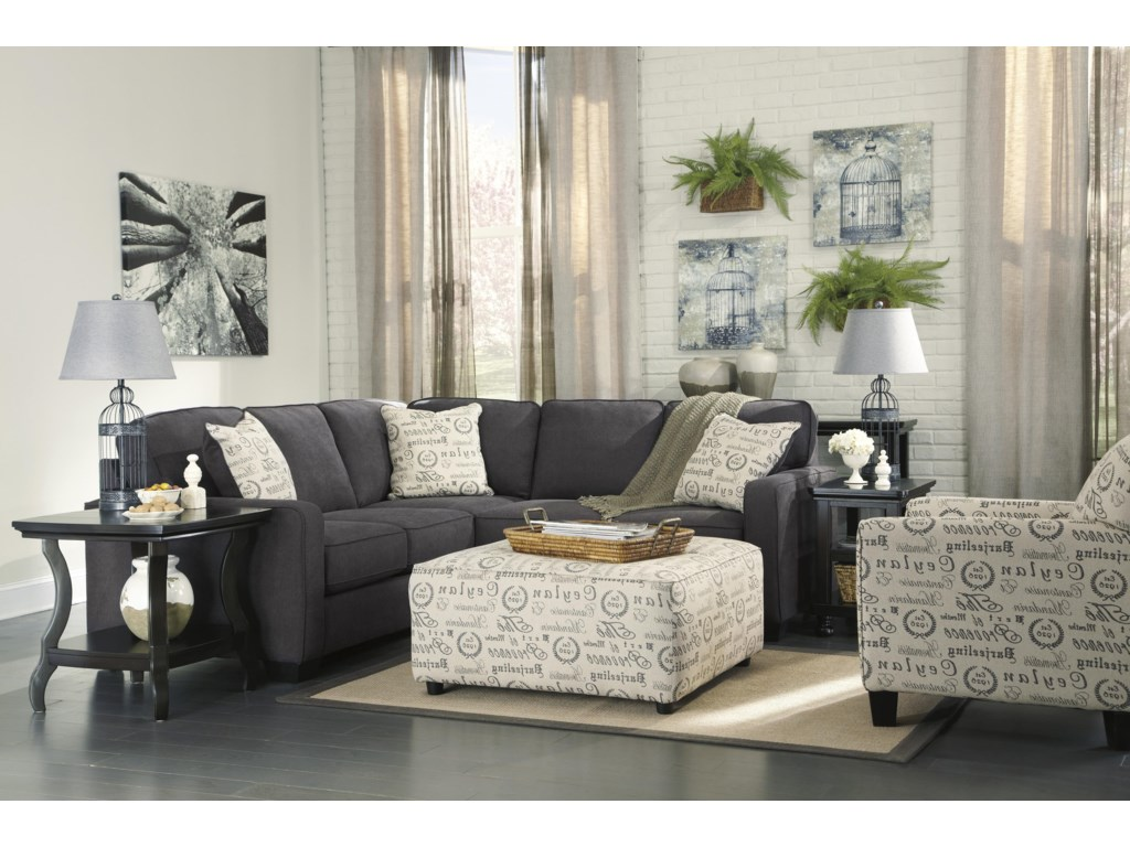 Trendz Corin - Charcoal2-Piece Sectional with Right Loveseat