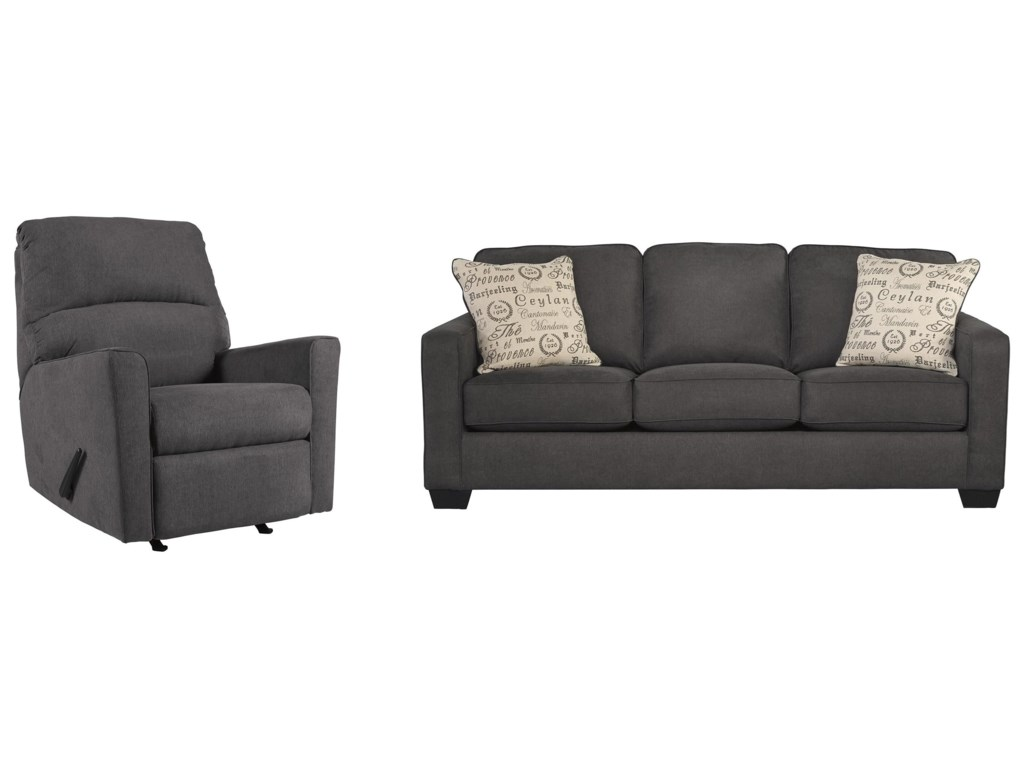 Signature Design by Ashley Alenya - CharcoalSofa and Recliner Set