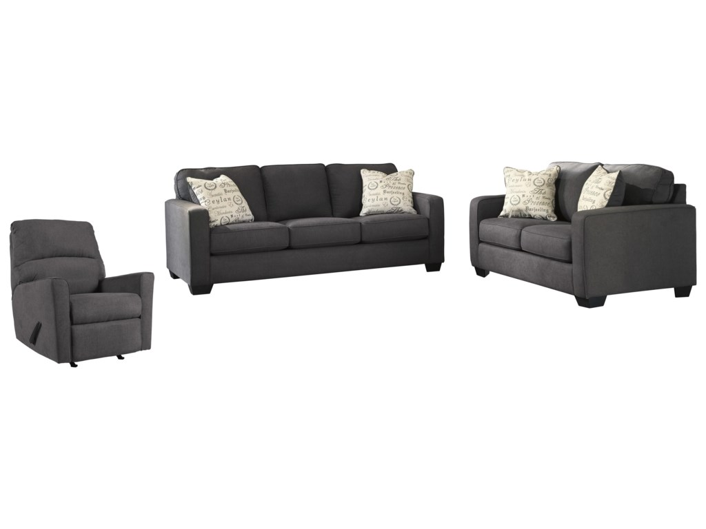 Signature Design by Ashley Alenya - CharcoalSofa, Loveseat and Recliner Set