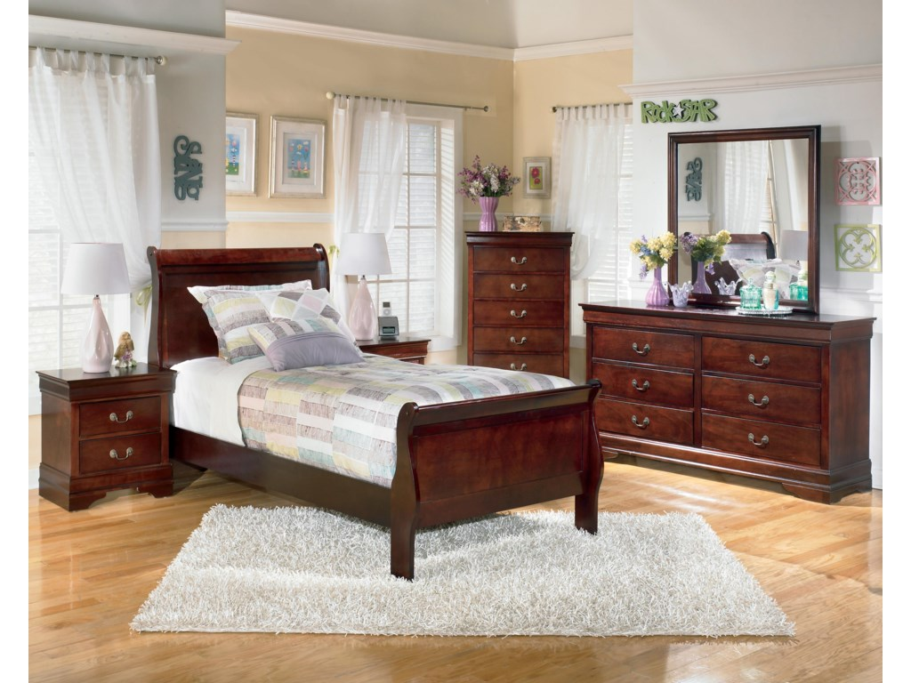 Shown with Night Stand, Sleigh Bed, Dresser, and Mirror