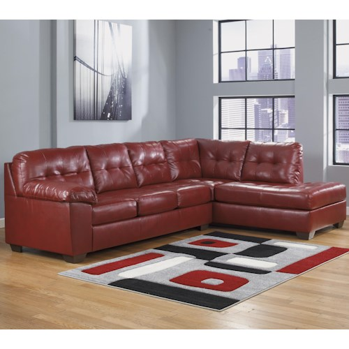 Signature Design by Ashley Furniture Alliston DuraBlend® - Salsa Sectional w/ Right Chaise & Tufting