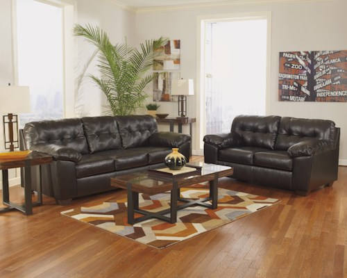 Signature Design by Ashley Alliston DuraBlend® - Chocolate Stationary Living Room Group