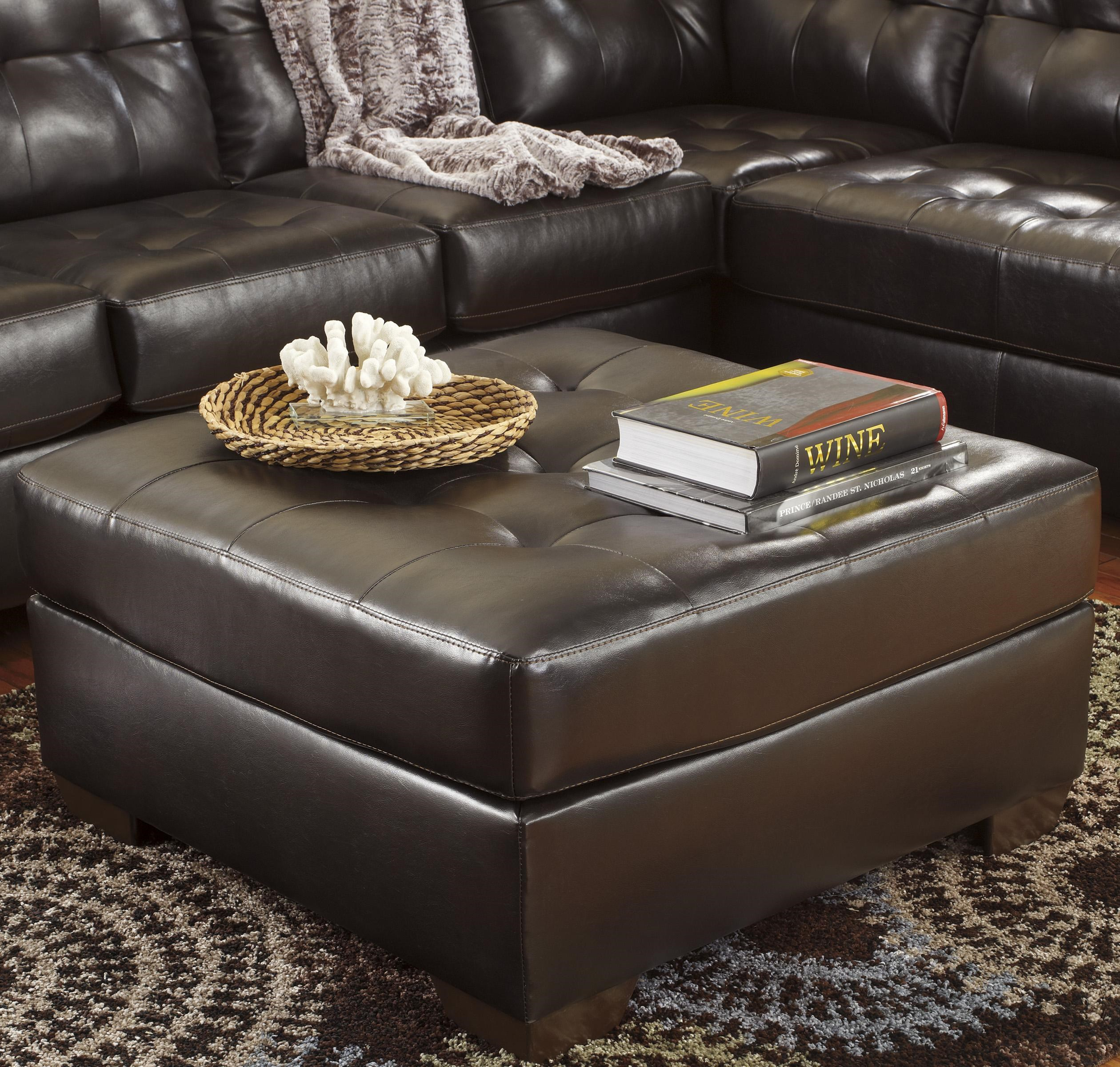 Alliston Durablend Chocolate Oversized Accent Ottoman W Tufting By Signature Design By Ashley At Household Furniture