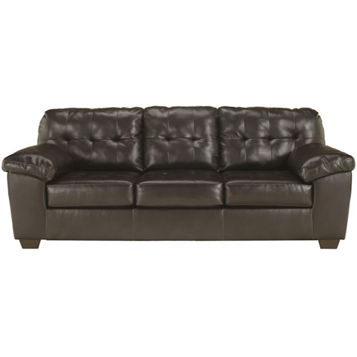 Signature Design by Ashley Alliston DuraBlend® - Chocolate Contemporary Sofa w/ Pillow Arms
