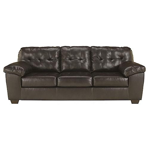 Signature Design by Ashley Furniture Alliston DuraBlend® - Chocolate Queen Sofa Sleeper w/ Tufting