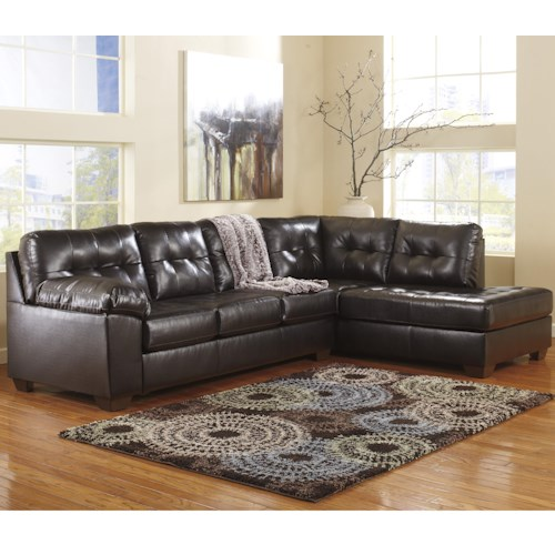 Signature Design by Ashley Furniture Alliston DuraBlend® - Chocolate Sectional w/ Right Chaise & Tufting