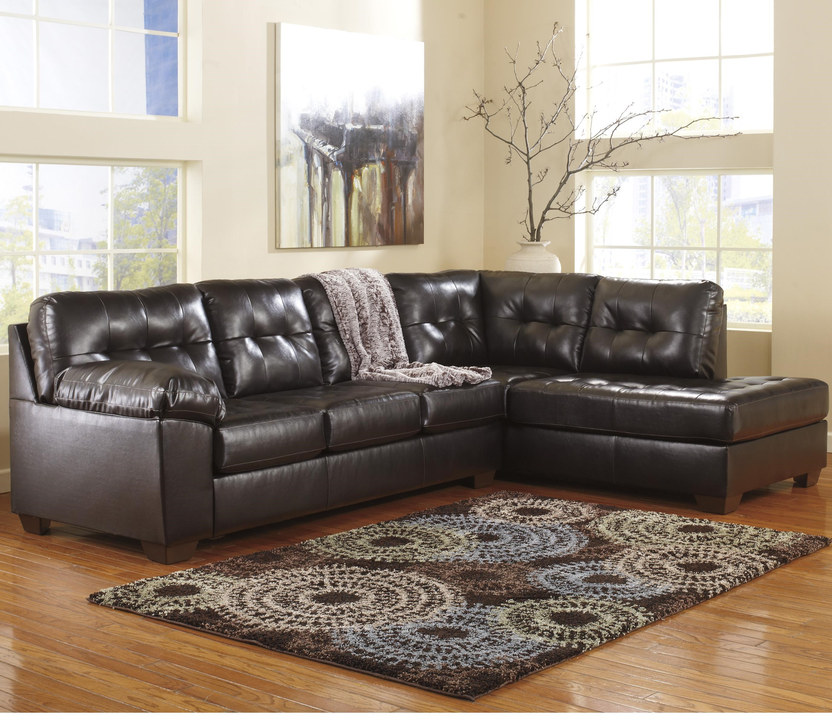 Signature Design by Ashley Alliston DuraBlend® - Chocolate Sectional w/ Right Chaise u0026 Tufting  sc 1 st  Rotmans : ashley sofa sectional - Sectionals, Sofas & Couches