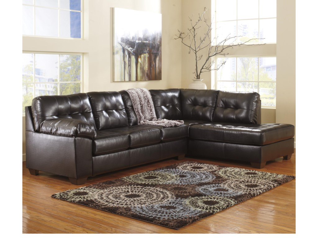 online retailer ed236 1de46 Alliston DuraBlend® - Chocolate Sectional w/ Right Chaise & Tufting by  Signature Design by Ashley at Rotmans