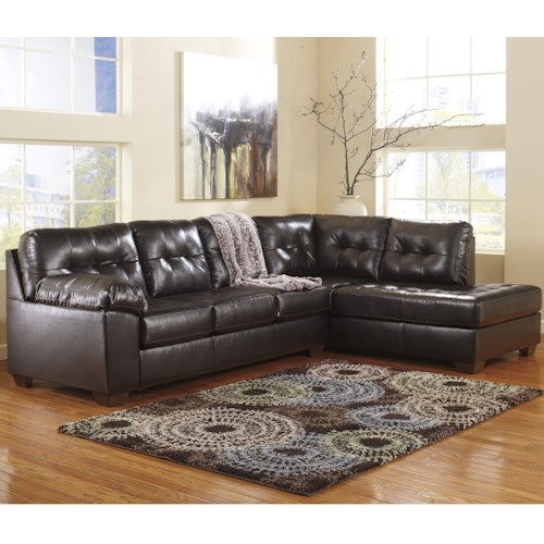 Signature Design by Ashley Alliston DuraBlend® - Chocolate Sectional w/ Right Chaise & Tufting