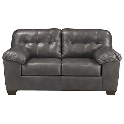 Signature Design by Ashley Furniture Alliston DuraBlend® - Gray Contemporary Loveseat w/ Pillow Arms