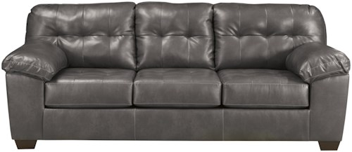 Signature Design by Ashley Alliston DuraBlend® - Gray Contemporary Sofa w/ Pillow Arms