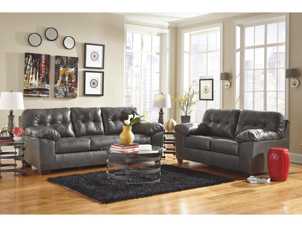 Signature Design Alliston DuraBlend® - GrayQueen Sofa Sleeper