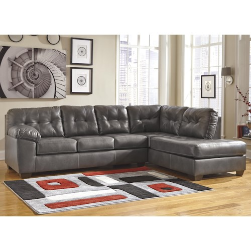 Signature Design by Ashley Furniture Alliston DuraBlend® - Gray Sectional w/ Right Chaise & Tufting