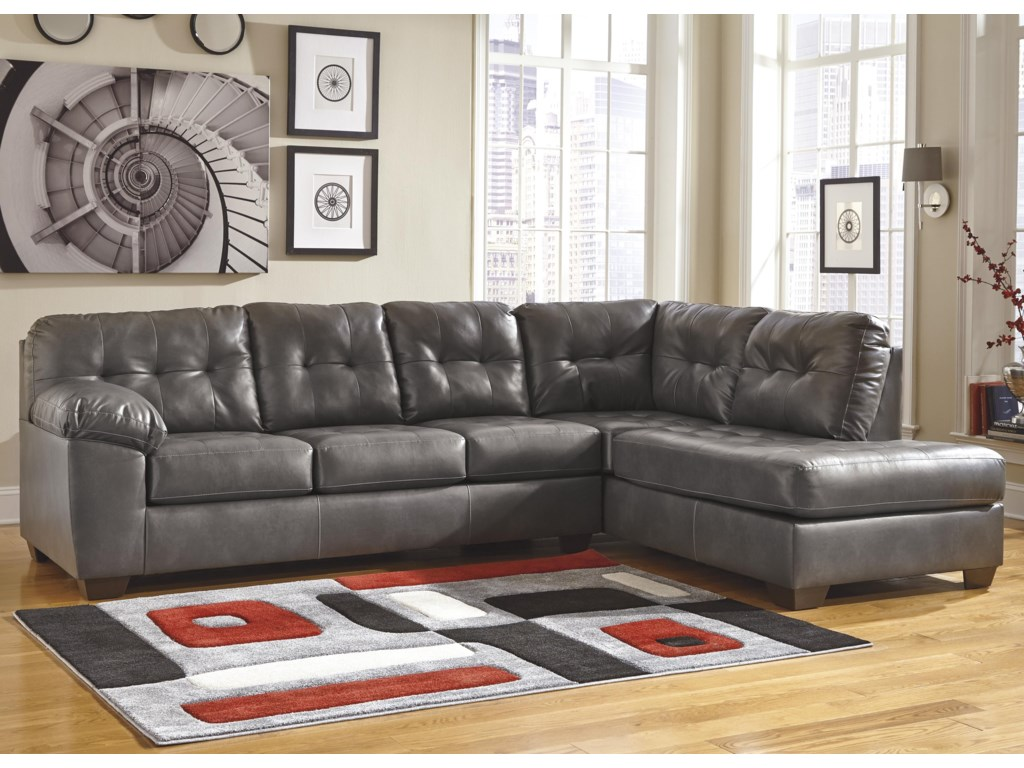 Ashley (Signature Design) Alliston DuraBlend® - GraySectional w/ Right Chaise
