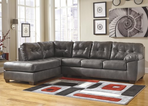 Style Of Signature Design by Ashley Alliston DuraBlend Gray Sectional w Left Chaise & Tufting Beautiful - Unique durablend leather sofa Luxury