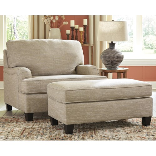 Signature Design by Ashley Almanza Chair and a Half  with Rolled Arms and Ottoman