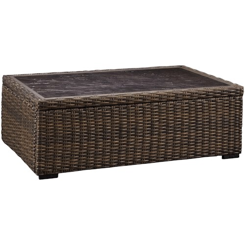 Signature Design by Ashley Alta Grande Rectangular Resin Wicker Cocktail Table