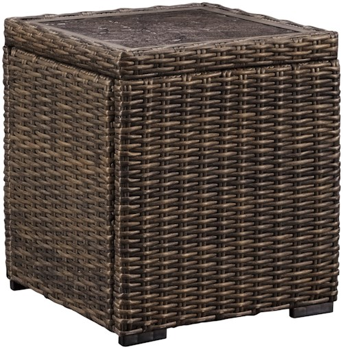 Signature Design by Ashley Alta Grande Resin Wicker Square End Table