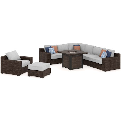 Signature Design by Ashley Alta Grande Outdoor Conversation Set with Fire Pit Table