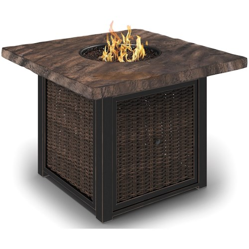 Signature Design by Ashley Alta Grande Square Fire Pit Table with Push Button Start