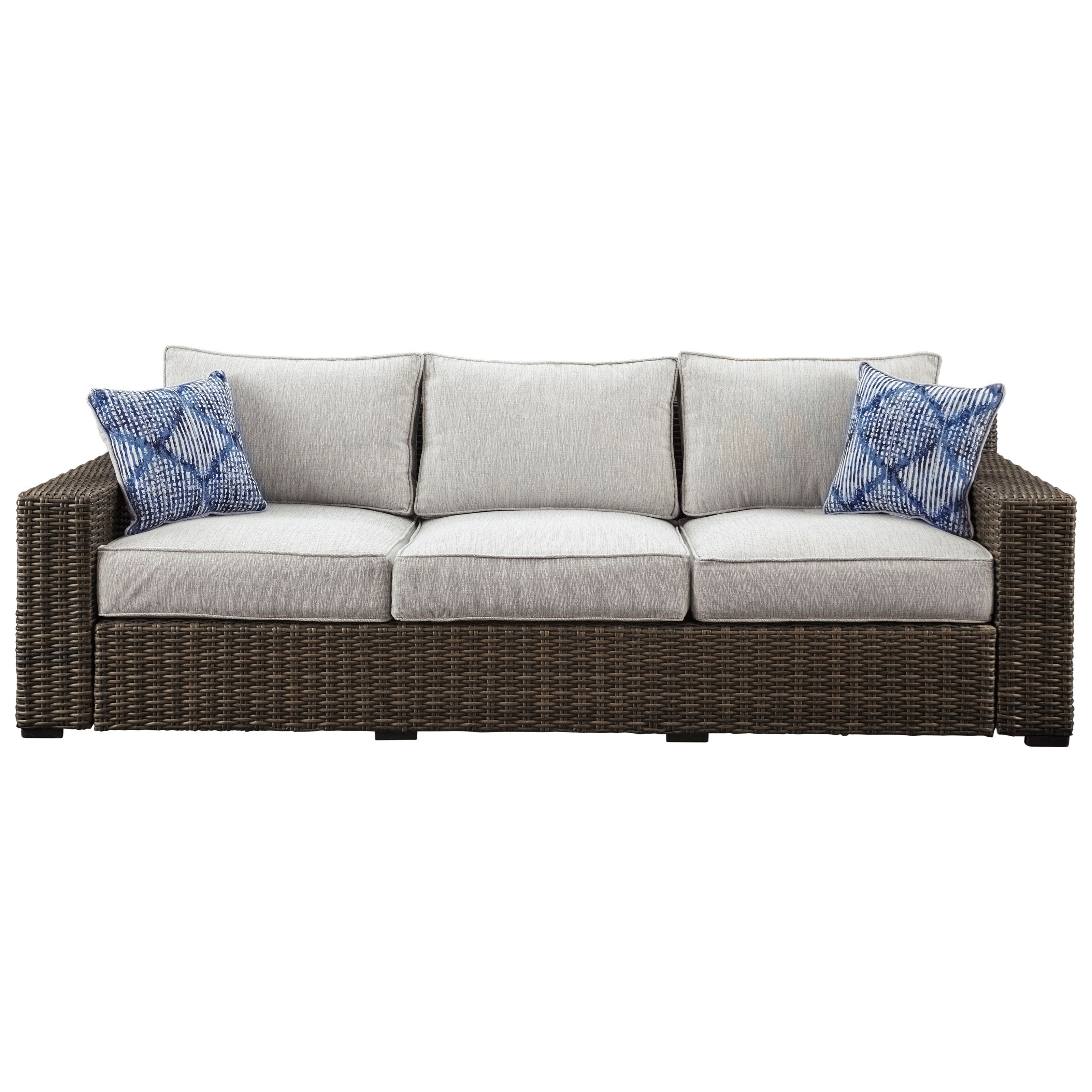 Beau Signature Design By Ashley Alta Grande Contemporary Outdoor Sofa With  Cushion