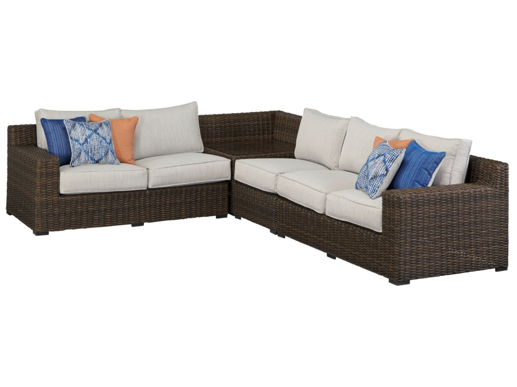 Alta Grande Outdoor Sectional Sofa with Corner Table by Signature Design by  Ashley at Royal Furniture