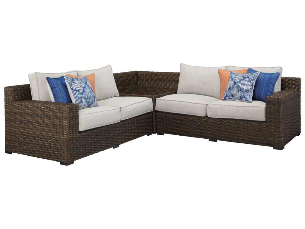 Alta Grande Outdoor Sectional with Corner Table by Signature Design by  Ashley at Becker Furniture World