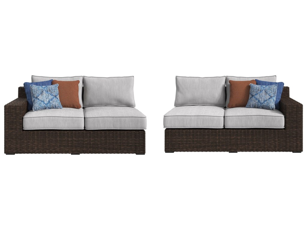 Signature Alta GrandeRAF Loveseat & LAF Loveseat with Cushion