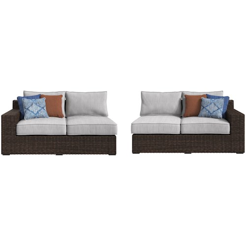 Signature Design by Ashley Alta Grande Right and Left Arm Facing Loveseats with Cushion
