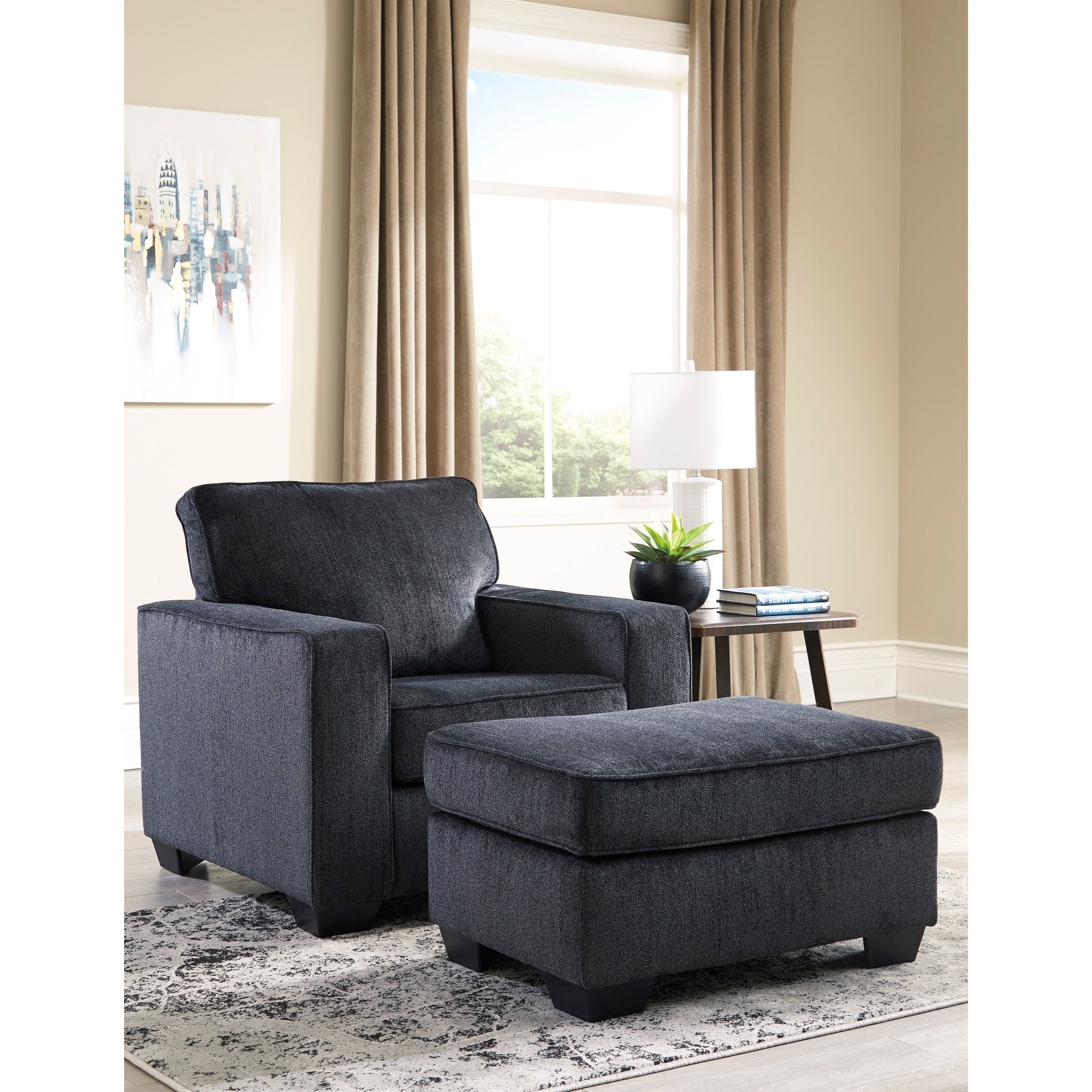 Contemporary Upholstered Chair and Ottoman