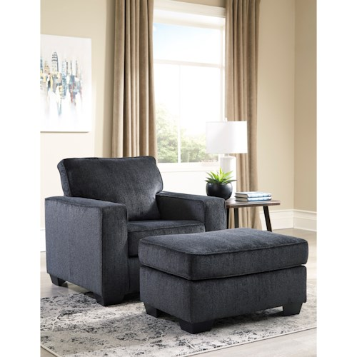 Signature Design by Ashley Altari Contemporary Upholstered Chair and Ottoman
