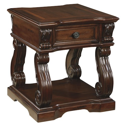 Signature Design by Ashley Alymere Traditional Square End Table with 1 Drawer & 1 Shelf