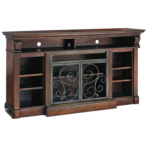 Signature Design by Ashley Scroll Extra Large TV Stand with Metal Doors & Marble Tile