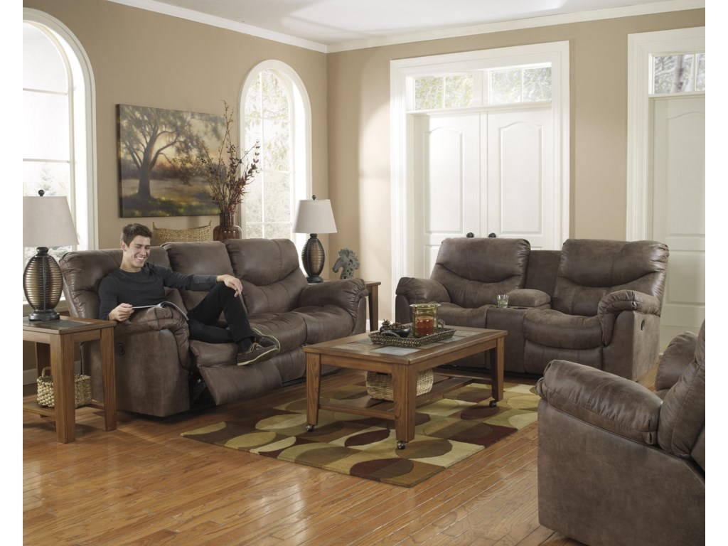 Shown Right Corner with Coordinating Collection Sofa and Loveseat. Recliner Shown May Not Represent Exact Features Indicated.
