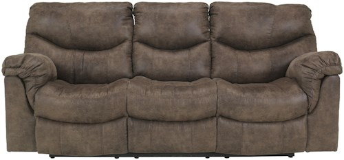 Signature Design by Ashley Alzena - Gunsmoke Reclining Sofa with Casual Style